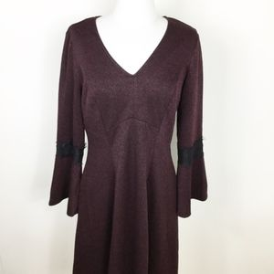 NWT Elle Burgundy Bell Sleeve V-Neck Dress sz. M